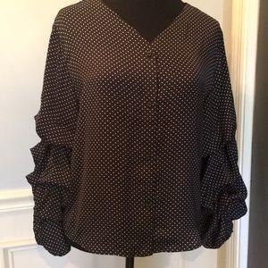 Black & white polka dot blouse